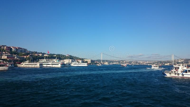 Panoramic view of Istanbul. Panorama cityscape of famous tourist destination Bosphorus strait channel. Travel landscape Bosporus, stock photography