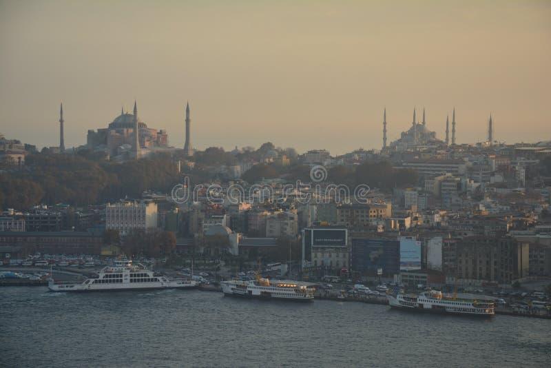 Panoramic View Istanbul Turkey Sunset stock photography