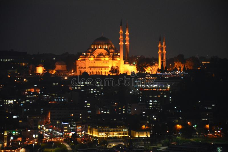 Panoramic View Istanbul Turkey Sunset stock image