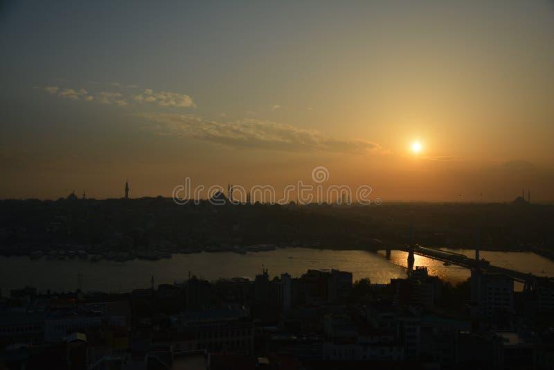 Panoramic View Istanbul Turkey Sunset royalty free stock photo