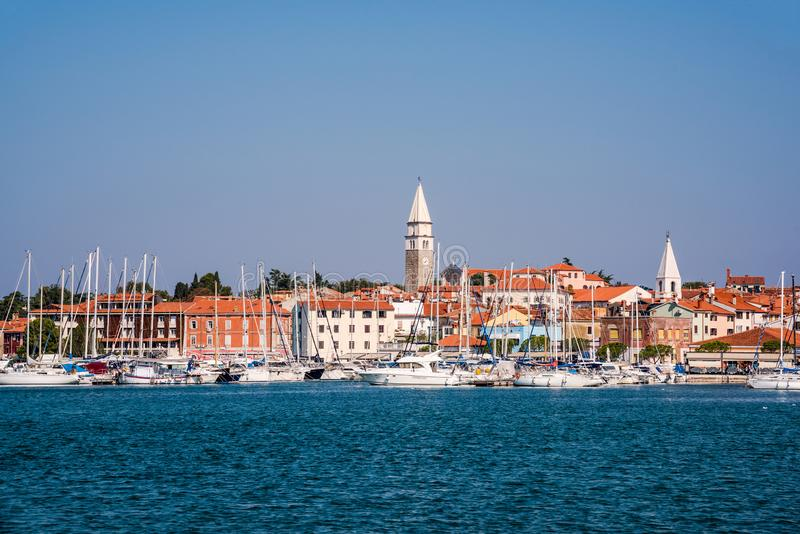 Panoramic view of Izola in Slovenia royalty free stock photography