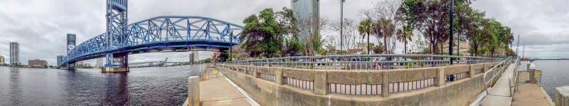 Panoramic view of Jacksonville bridge and skyline, Florida stock photo
