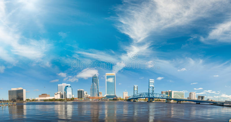 Panoramic view of Jacksonville skyline at dusk, Florida stock image