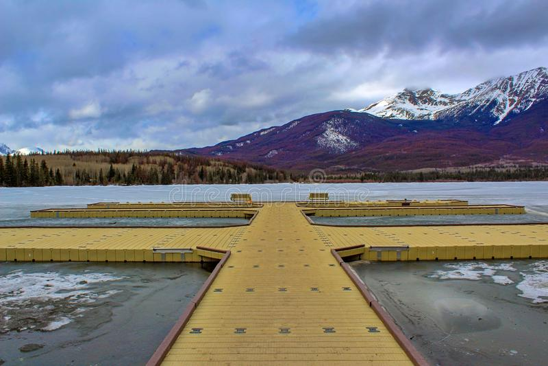 Panoramic Spring Mountain Lake Landscape royalty free stock photo