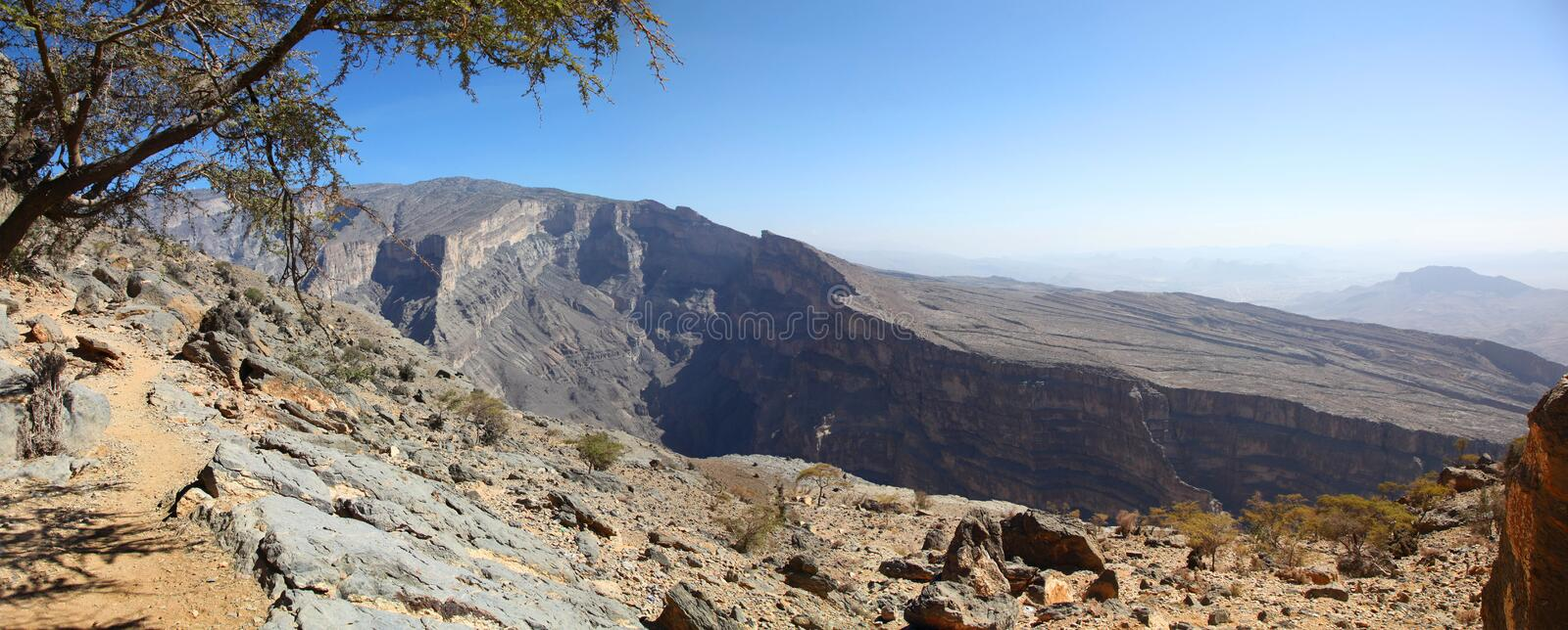 Panoramic view of Jebel Shams canyon in Oman stock photo