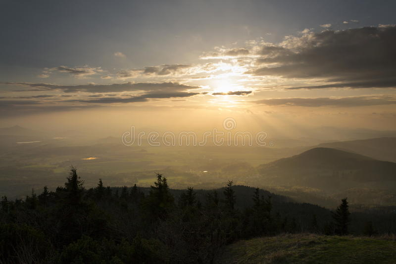 Panoramic view from Jested mountain near Liberec in Czech republic. Panoramic view from Jested mountain near Liberec in the Czech republic royalty free stock image