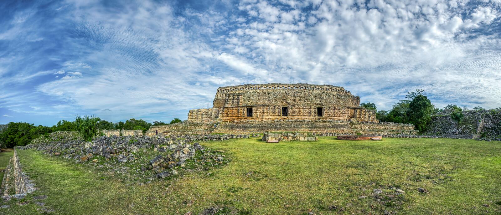 Panoramic view of Kabah, Maya archaeological site, Merida, Yucatan, Mexico stock photos