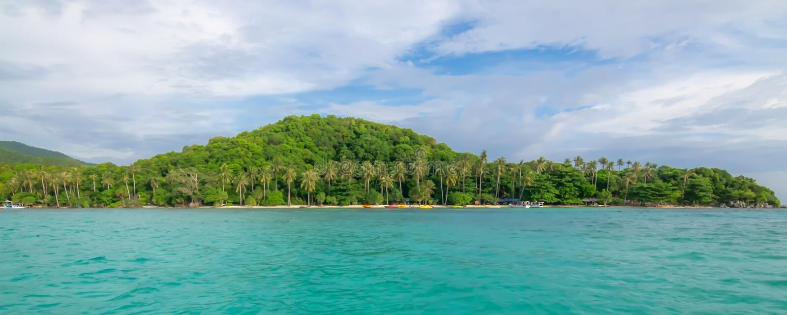 Panoramic view of hidden paradise stock photography