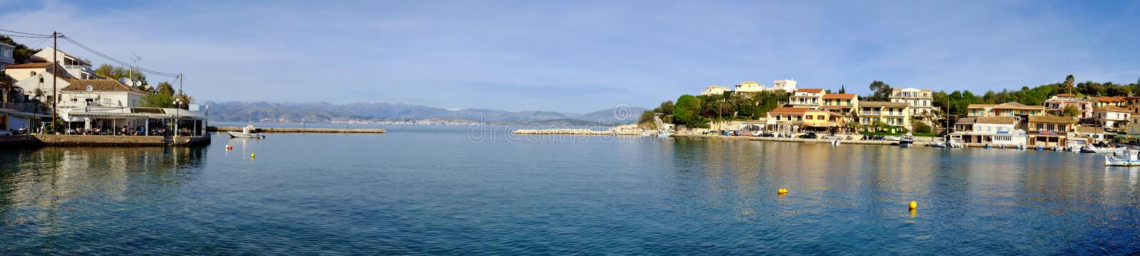 Panoramic view of Kassiopi port in Corfu, Greece stock photos