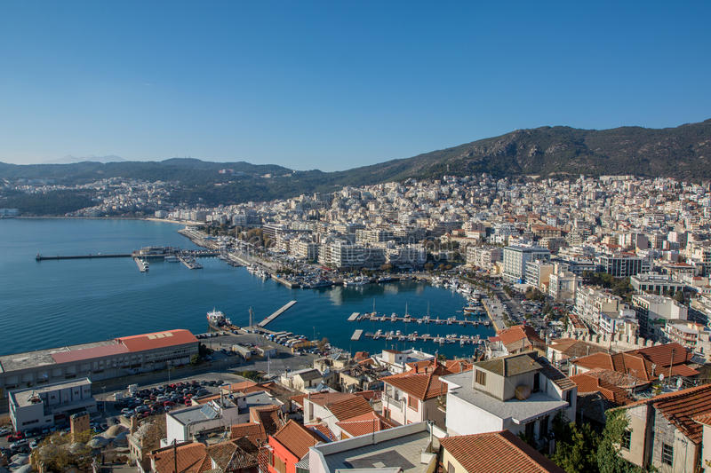 Panoramic view of Kavala city at North Greece royalty free stock photo