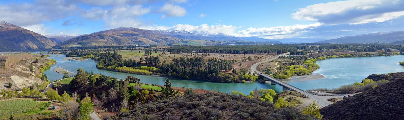 Panoramic View of the Kawarau River, Otago, New Zealand. Panoramic View of the Kawarau River Gorge, Cromwell and Vineyards, Otago, New Zealand stock photo