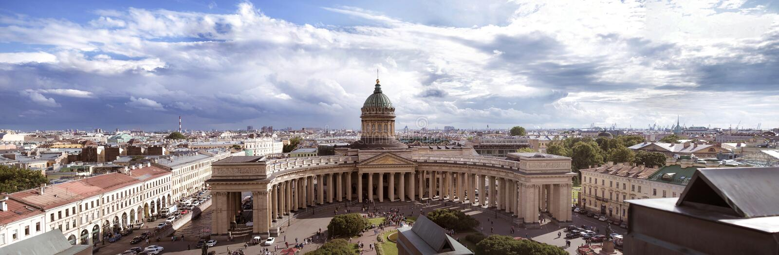 Panoramic view of Kazansky cathedral Saint Petersburg, Russia. Sky view stock photo