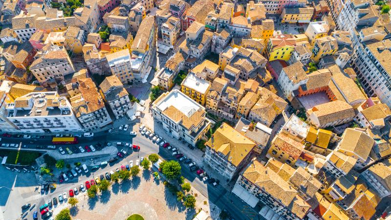 Panoramic view of Kerkyra, capital of Corfu island stock images