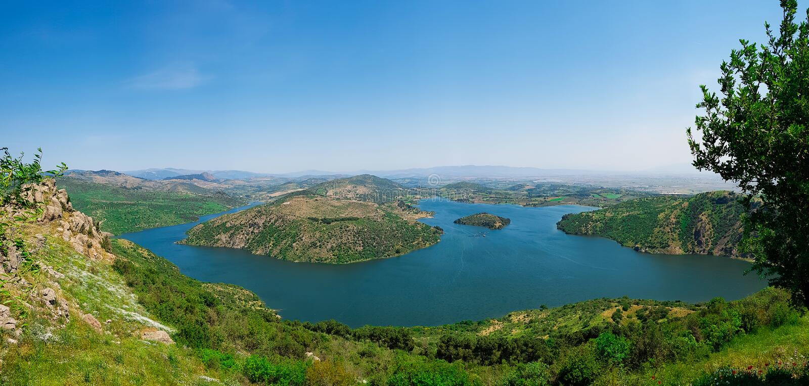Panoramic view of Kestel Dam Lake near the Pergamon Pergamum Ancient City. Bergama, Izmir, Turkey royalty free stock image