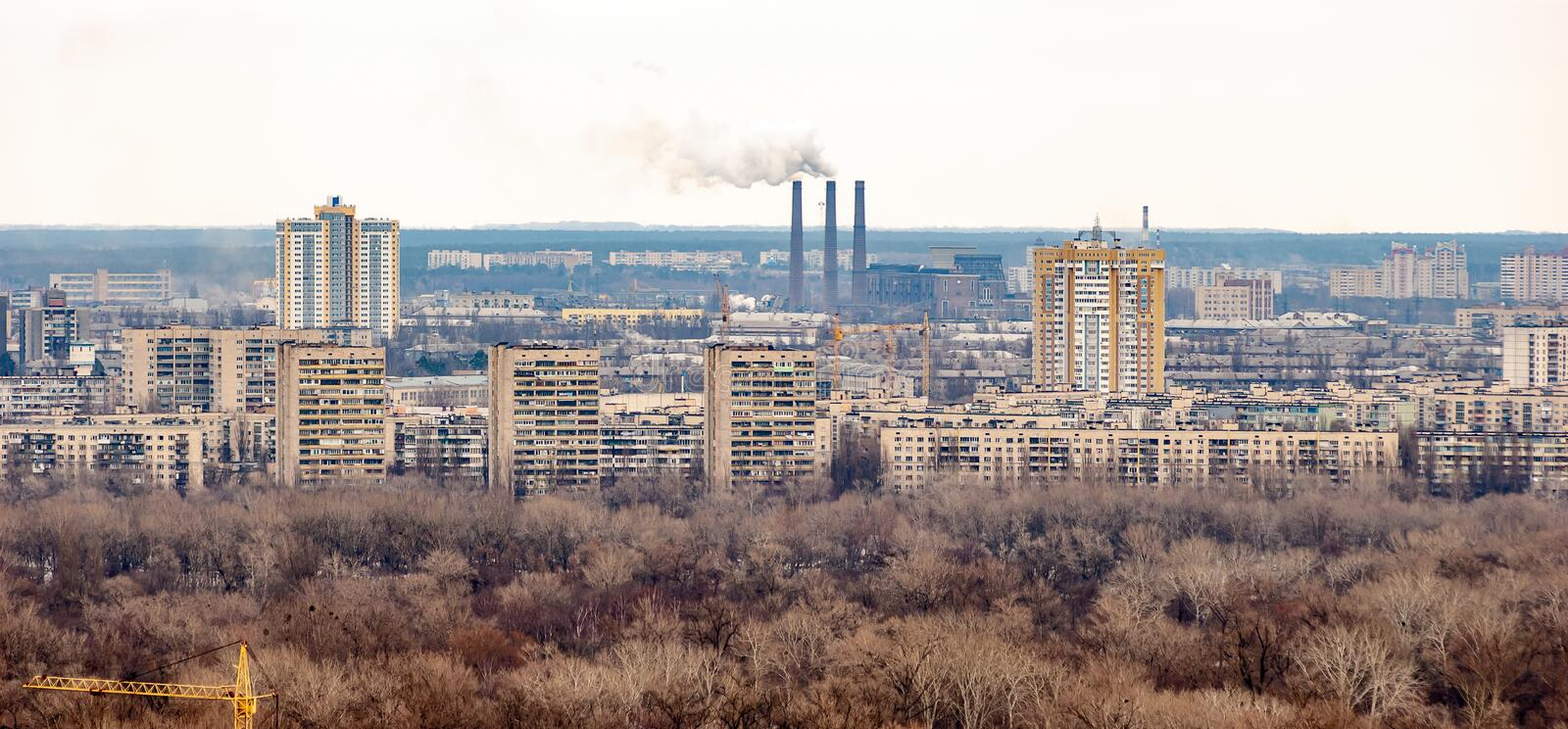 Panoramic view of the Kiev`s left bank from the Park of Eternal Glory stock photos
