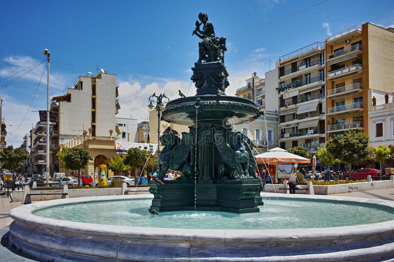 Panoramic view of King George I Square in Patras, Western Greece stock photography