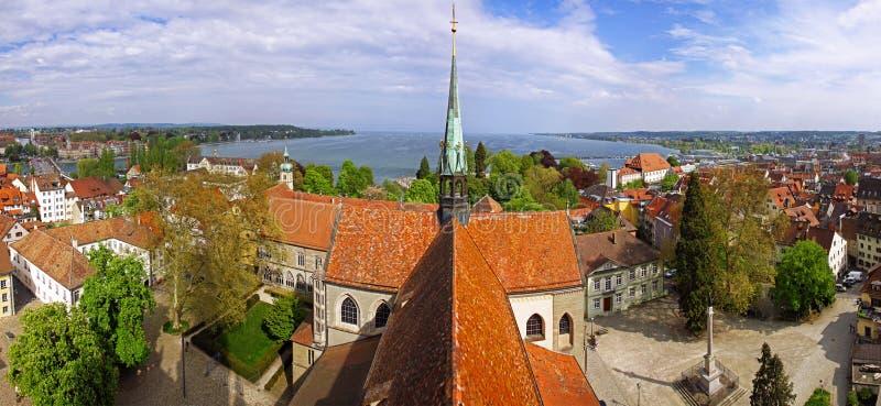Panoramic view of Konstanz city (Germany) and Town of Kreuzlingen(Switzerland). Panoramic aerial view of Konstanz city, Germany (on the Left), Town of royalty free stock photo