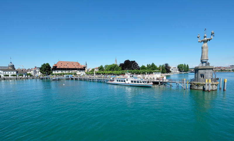 Panoramic view of Konstanz old town and port, Germany stock photos