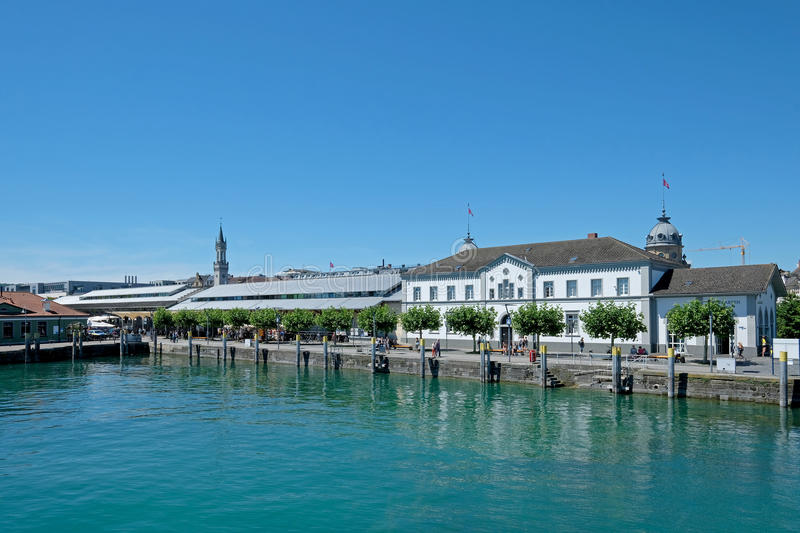 Panoramic view of Konstanz old town and port, Germany royalty free stock images