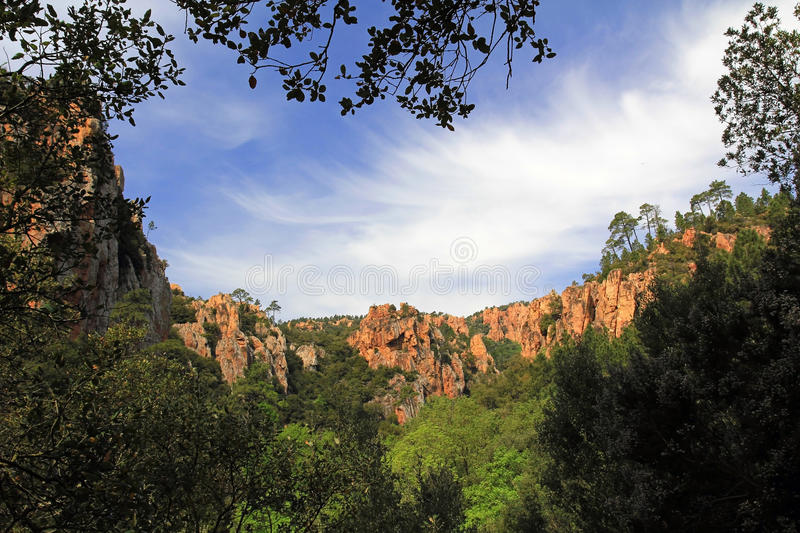 Panoramic view of La Gorges D'Blavet stock photography
