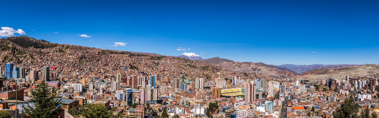 Panoramic view of La Paz with Illimani Mountain - La Paz, Bolivia royalty free stock photo