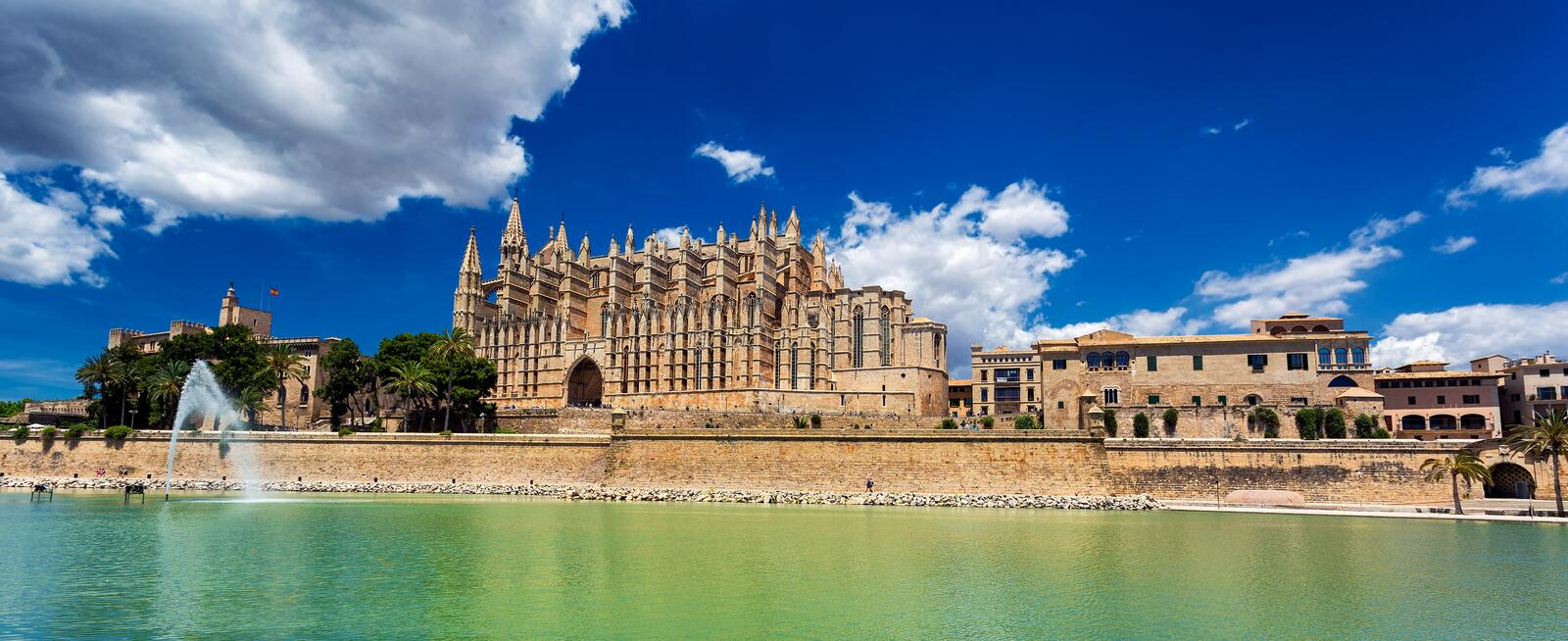Panoramic view of La Seu - Cathedral of Santa Maria of Palma, Palma de Mallorca royalty free stock photo