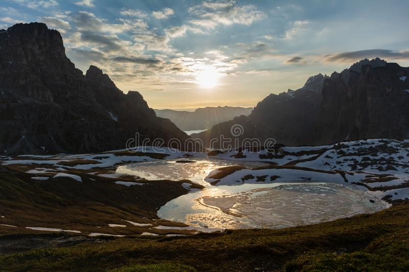 Panoramic view of Laghi dei Piani at sunrise. Tre Cime, Italy. Beautiful panoramic view of Laghi dei Piani at sunrise. Tre Cime Drei Zinnen natural park, Italy stock photo
