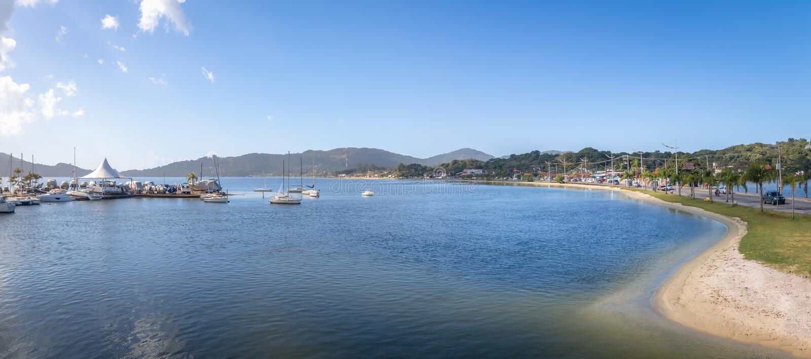 Panoramic view of Lagoa da Conceicao - Florianopolis, Santa Catarina, Brazil. Panoramic view of Lagoa da Conceicao in Florianopolis, Santa Catarina, Brazil royalty free stock images