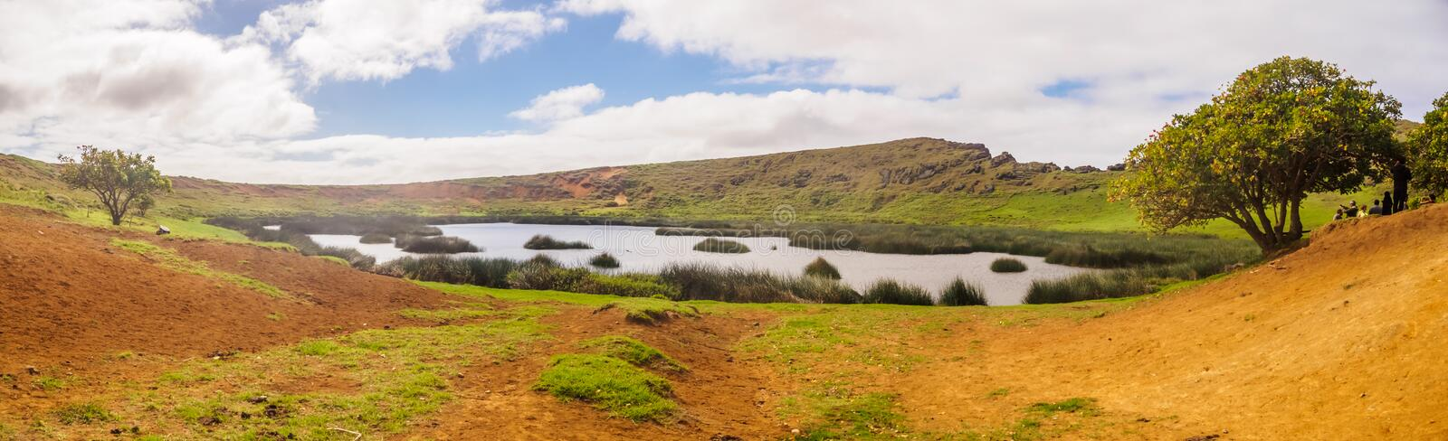 Panoramic view of the lagoon in the crater of the Rano Raraku volcano on Easter Island. Quarry of the Moai royalty free stock images