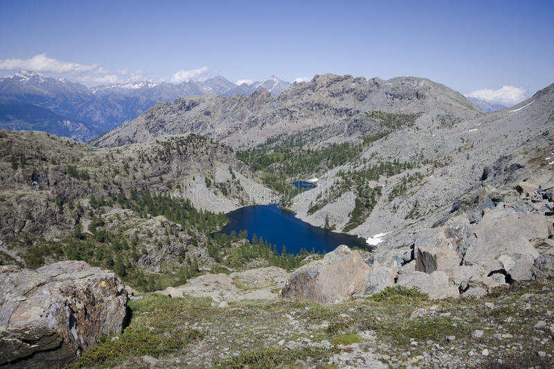 Panoramic view of a lake on the alps