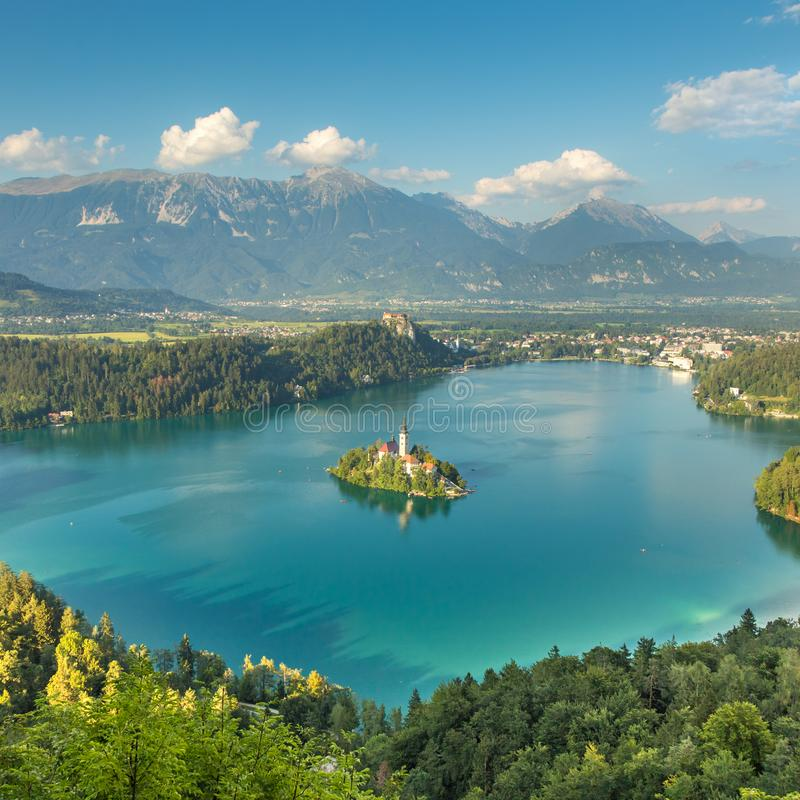 Panoramic view of Lake Bled, Slovenia stock image