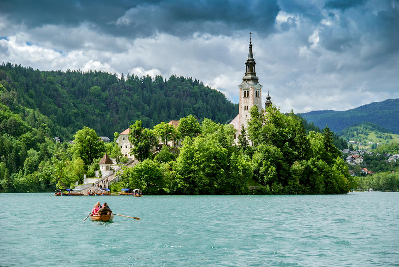 Panoramic view of Lake Bled stock photography