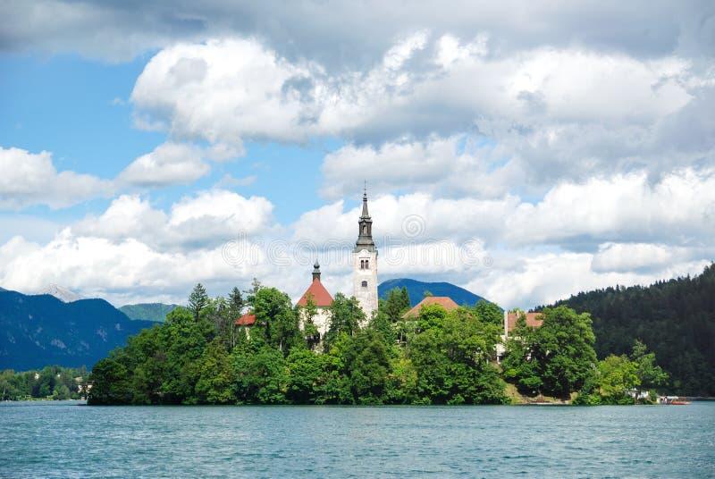 Panoramic view of Lake Bled stock image