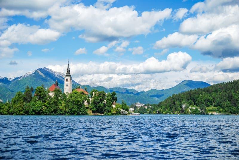 Panoramic view of Lake Bled stock photo