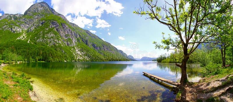 Panoramic view of Lake Bohinj, Julian Alps, Slovenia royalty free stock photos