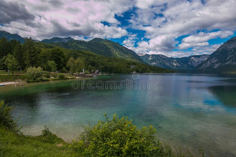 Panoramic view of Lake Bohinj, the largest permanent lake in Slovenia. It is located in the northwestern Upper Carniola region. Europe stock photography