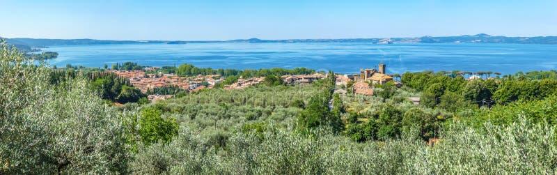Panoramic view of Lake Bolsena, province of Viterbo, Lazio, Italy. Panoramic view of Lake Bolsena (Lago di Bolsena), province of Viterbo, Lazio, central Italy royalty free stock photos