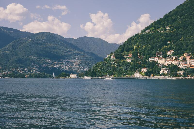 Panoramic view of Lake Como (Lago di Como) in Lombardy, Italy royalty free stock photos