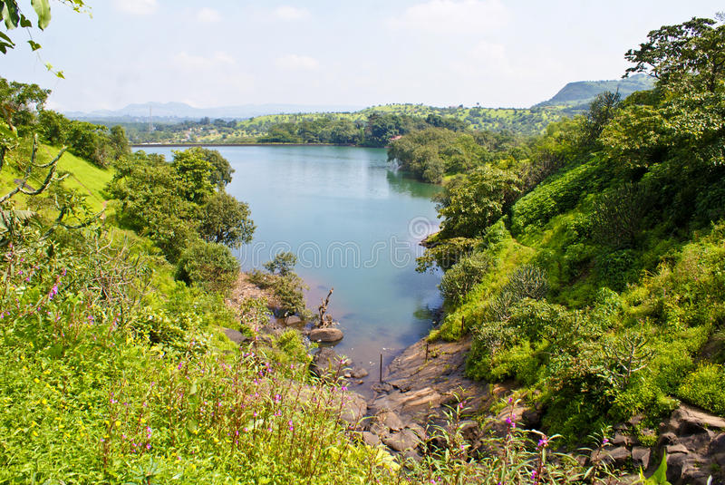 Download Panoramic View Of A Lake Flanked By Greenery Royalty Free Stock Photos - Image: 16293708