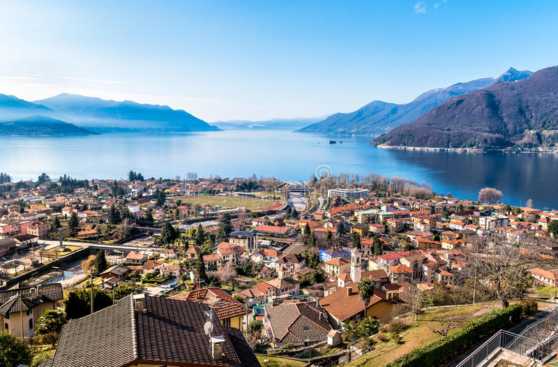 Panoramic view of lake Maggiore with Maccagno, Luino, Italy. Panoramic view of lake Maggiore with Maccagno, Luino, province of Varese, Italy royalty free stock photography