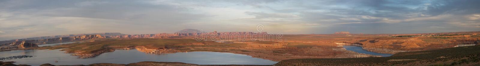 Panoramic view of Lake Powell, near Page, Arizona. Super wide panoramic view of Lake Powell, near Page, Arizona, USA. Taken at sunset in late spring stock photos