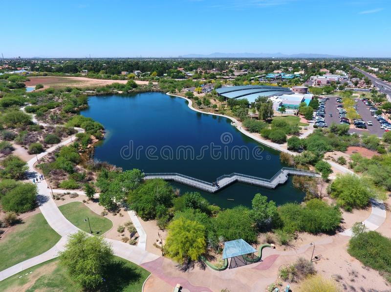 Panoramic View of Lake and Trails by Gilbert Public Library. Panoramic view of the lake and trails at Riparian Preserve, by the Gilbert Public Library, in royalty free stock photos