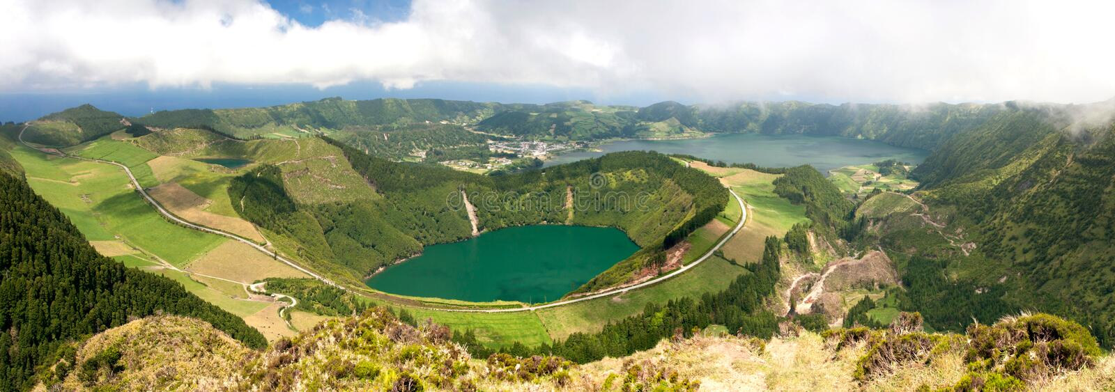 Panoramic view of the lake in a volcanic crater, Sete Cidades royalty free stock image