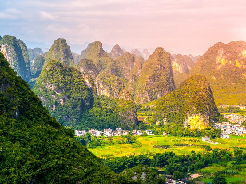 Panoramic view of landscape with karst peaks around Yangshuo County and Li River, Guangxi Province, China.  royalty free stock photos