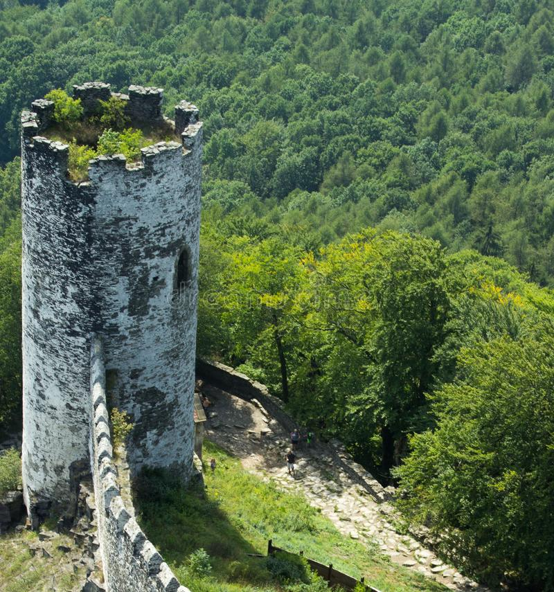 Panoramic view of landscape with old tower 3 royalty free stock photo