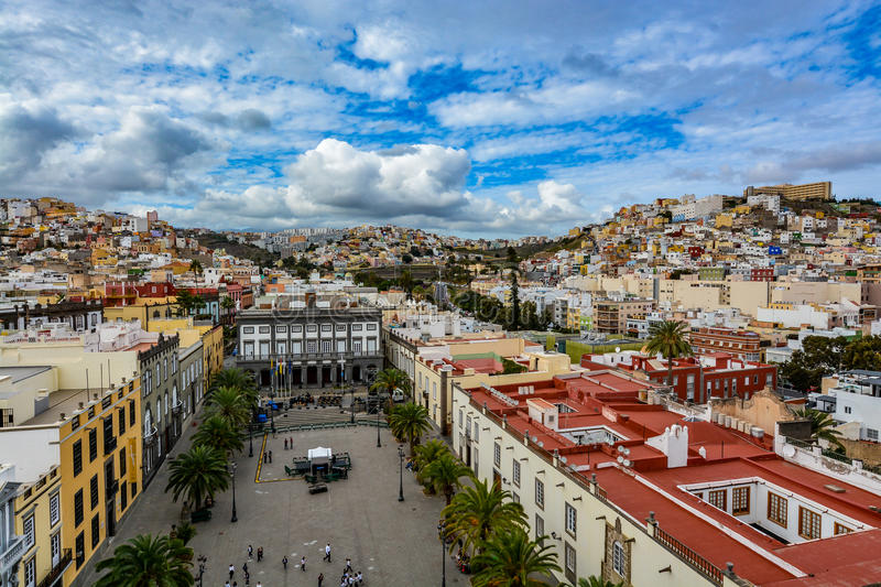 Panoramic view of Las Palmas de Gran Canaria on a beautiful day, view from the Cathedral of Santa Ana. In Vegueta district. The view inlcudes the city hall royalty free stock photos