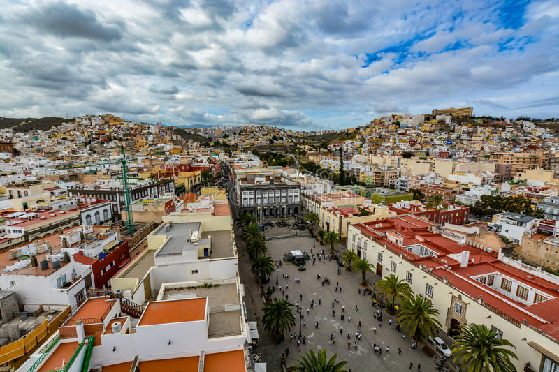 Panoramic view of Las Palmas de Gran Canaria on a beautiful day, view from the Cathedral of Santa Ana. In Vegueta district. The view inlcudes the city hall royalty free stock image