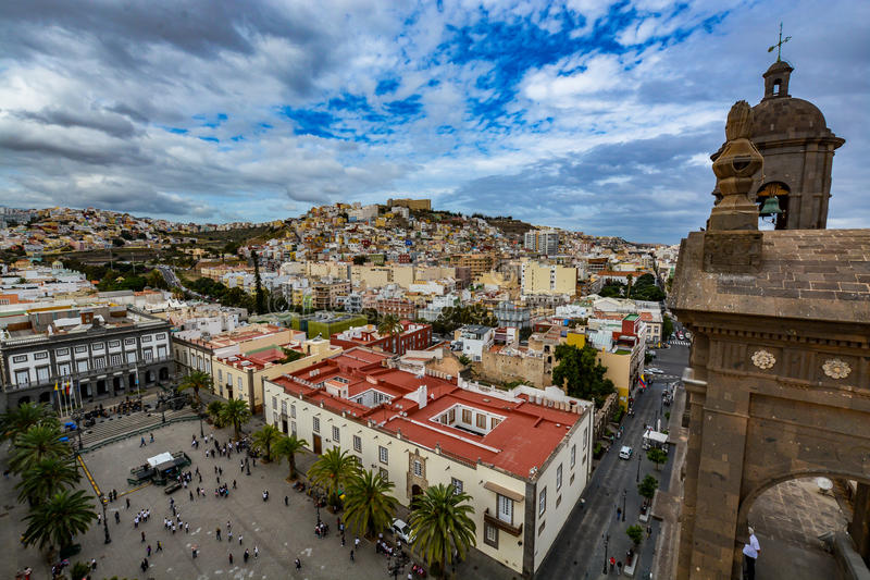 Panoramic view of Las Palmas de Gran Canaria on a beautiful day, view from the Cathedral of Santa Ana. In Vegueta district. The view inlcudes part of the stock photography
