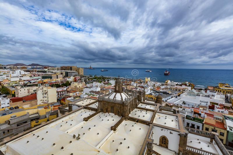 Panoramic view of Las Palmas de Gran Canaria on a beautiful day, view from the Cathedral of Santa Ana. In Vegueta district. The view inlcudes part of the royalty free stock image