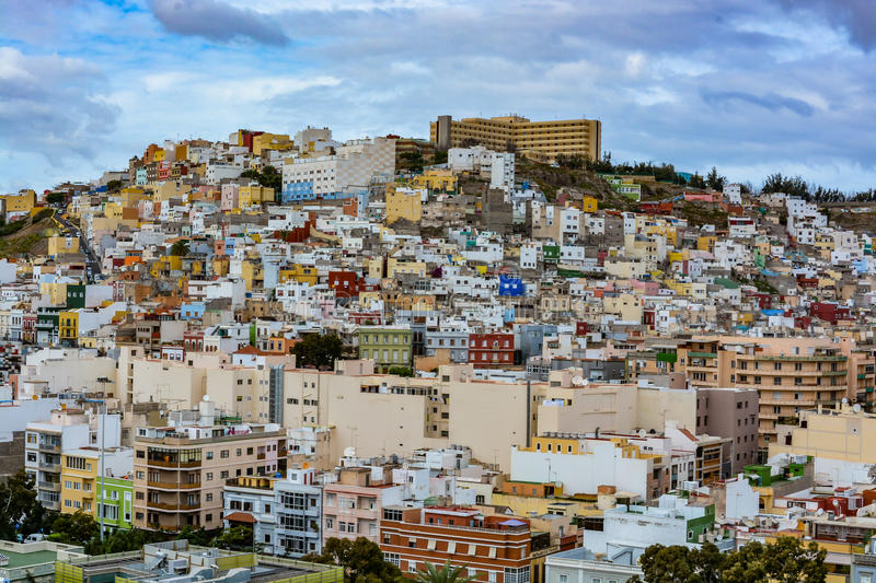 Panoramic view of Las Palmas de Gran Canaria on a beautiful day, view from the Cathedral of Santa Ana. In Vegueta district royalty free stock photography